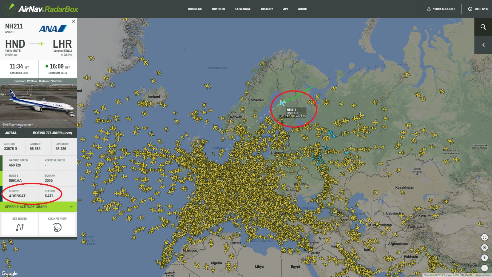 RadarBox printscreen w/ satellites
