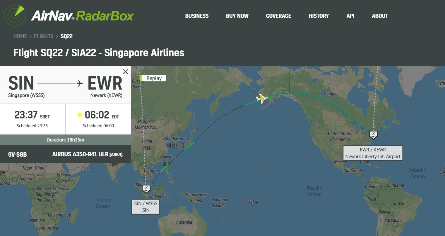 Singapore Airlines resumes world\'s longest route - RadarBox ...